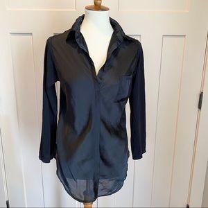 Nicole Miller Classic Black Collared Shirt Medium